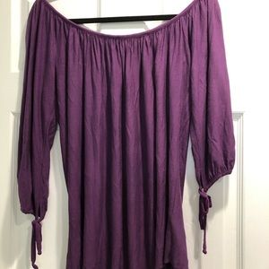 TBags Purple off the shoulder top, size small